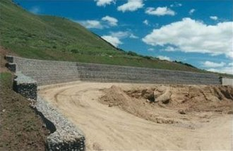 Stabilisation of earth movement - gabions