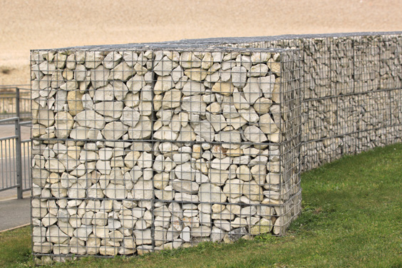 curved coastal gabion