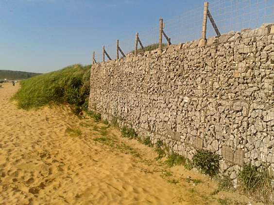 fence posts placed in gabions