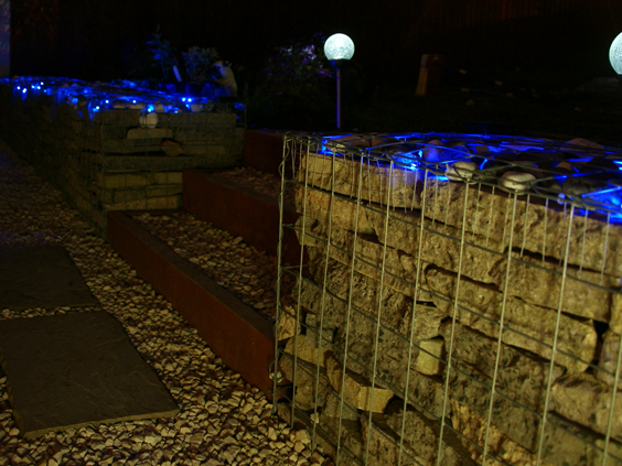 gabion wall with lighting