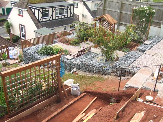 Gabion terraced grden for Terrace garden meaning
