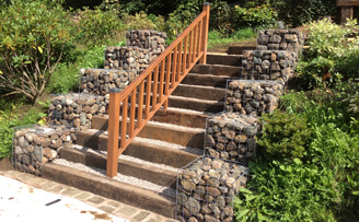 Gabion Stairwell using sleepers