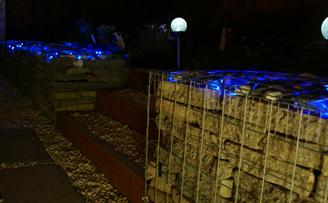 Gabion wall using Reclaimed slab and lighting
