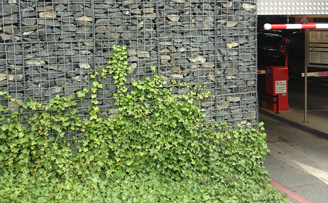 Gabion car park cladding