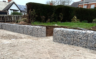 Gabion Retaining wall using Granite A