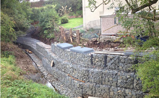 River erosion defence and seating area