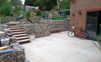 Gabion Courtyard and clever sleeper bench.